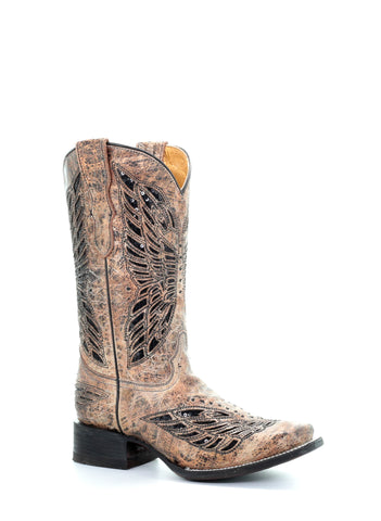 48dd132d3909 Kd Corral Teen Inlay Golden Cowhide Leather Cowgirl Boots