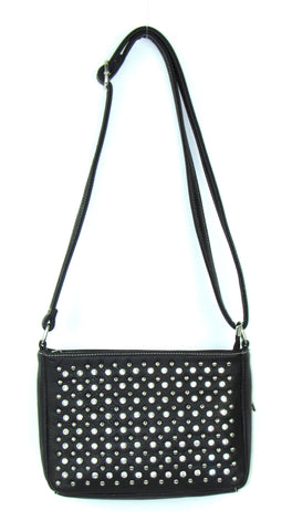 Savana Black Faux Leather Ladies Black Crossbody Stones