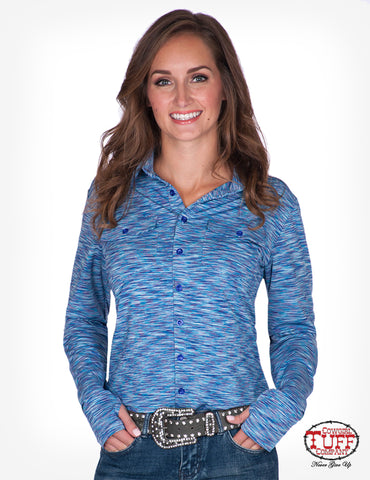Cowgirl Tuff Womens Cosmic Blue Polyester Blouse Sport Jersey L/S
