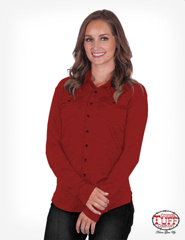 Cowgirl Tuff Womens Red 100% Cotton Blouse Sport Pullover L/S