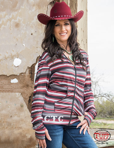 Cowgirl Tuff Womens Red Serape Polyester Hoodie Zip