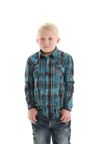 B Tuff Boys Dark Blue/Black 100% Cotton Western Shirt Plaid L/S