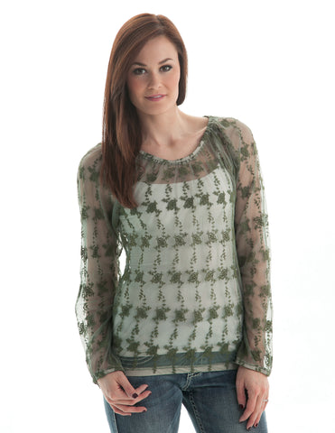 Cowgirl Tuff Womens Green 100% Cotton Blouse Sheer Crochet Lace Top L/S