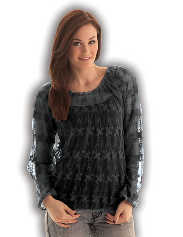Cowgirl Tuff Womens Black 100% Cotton Blouse Lace Crochet Top L/S