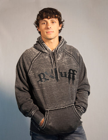 B Tuff Mens Gray Cotton Blend Hoodie Matte Embroidery Logo