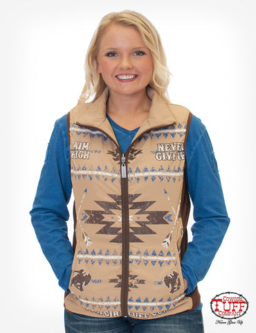 Cowgirl Tuff Womens Tan Poly/Nylon Vest Reversible Aztec