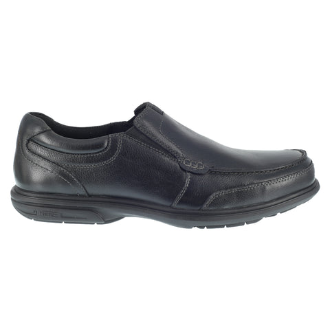 Florsheim Mens Black Leather Work Shoes Loedin Slip-On Loafers ST
