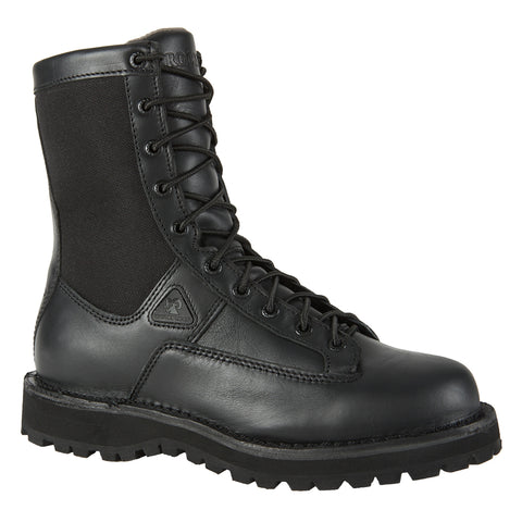 Rocky Mens Black Leather Portland Lace-To-Toe Waterproof Duty Boots