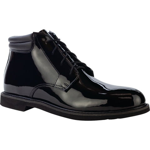 Rocky Mens Black Leather Duty Formal Boots Dress High Gloss Chukka
