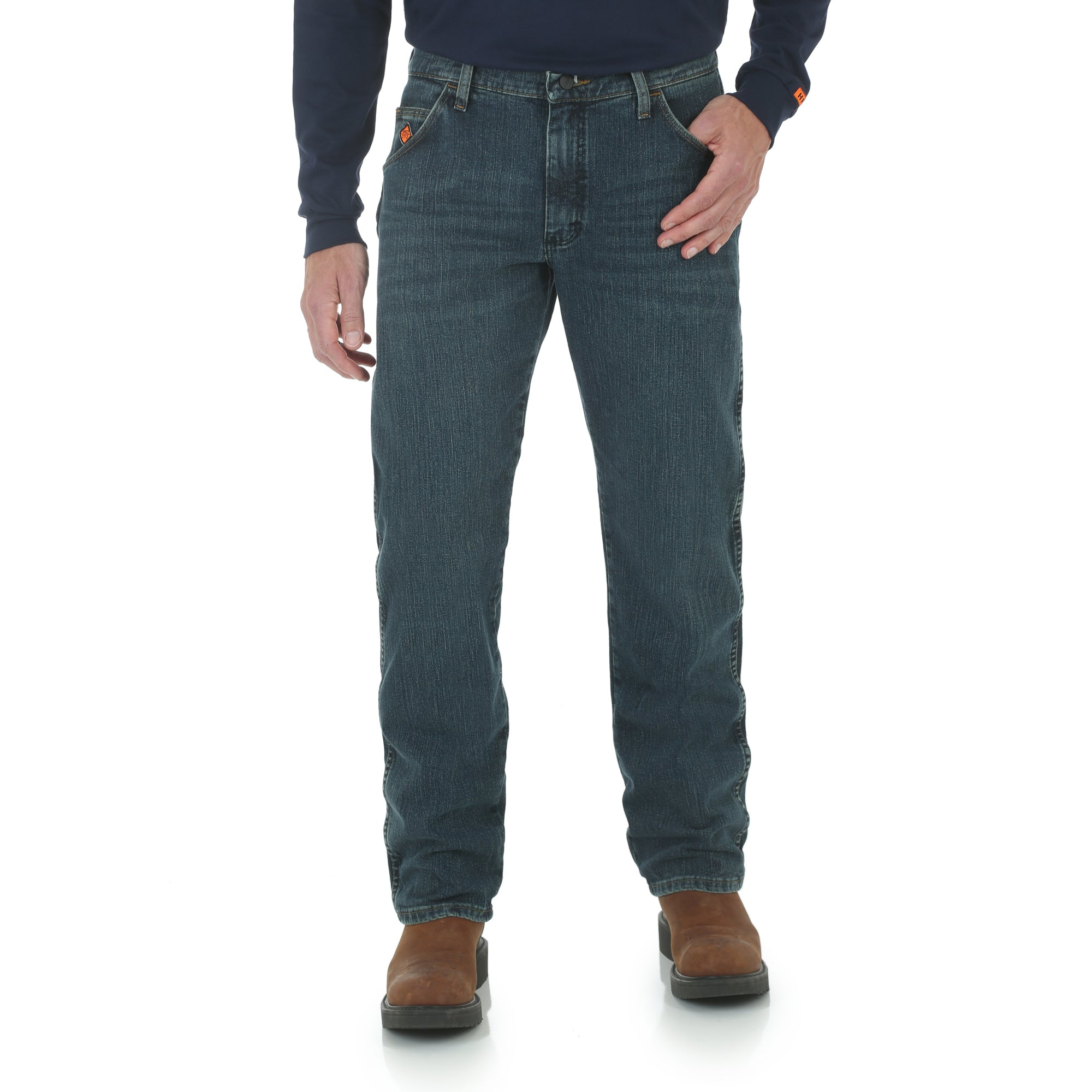 Wrangler FR 30 X 38 Dark Tint Cotton Polyester Spandex Flame Resistant Jeans With Zipper Front Closure