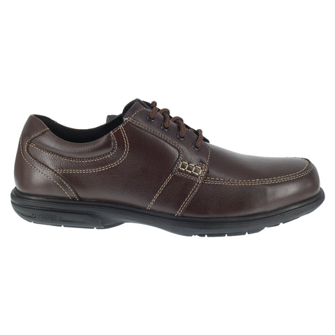 Florsheim Mens Brown Leather Work Shoes Loeden Lace-Up ST Oxfords