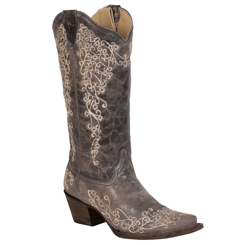 Corral Boots Womens Leather Embroidered Flower Brown 13in Cowgirl