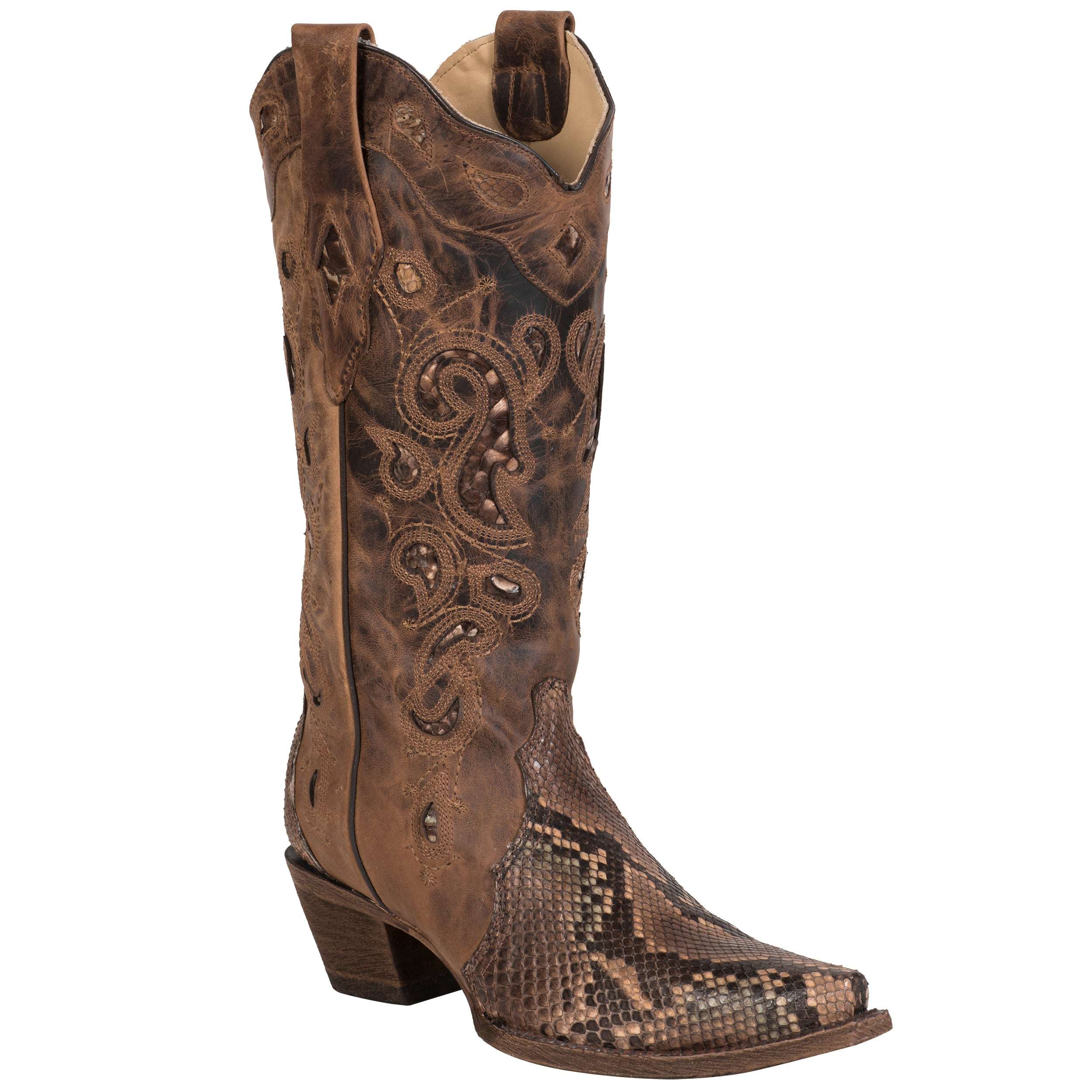 c905deddbf6 Corral Boots Womens Leather Python Inlay Brown Cowgirl – The Western ...
