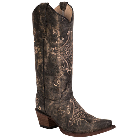 Corral Boots Womens Leather Circle G Crackle Chocolate Embroidery Cowgirl