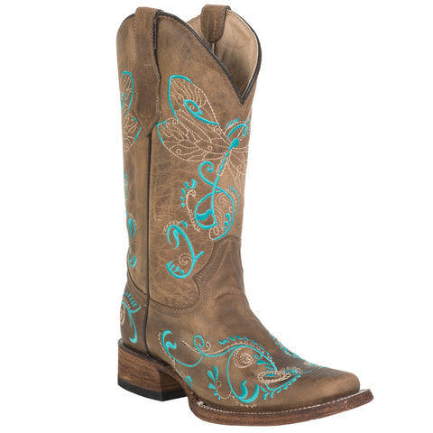 Corral Boots Womens Leather Circle G Dragonfly Tan Square Toe Cowgirl