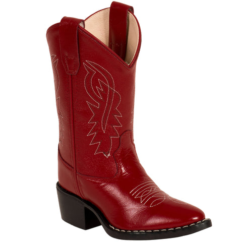 Old West Red Childrens Girls Corona Leather J Toe Cowboy Western Boots