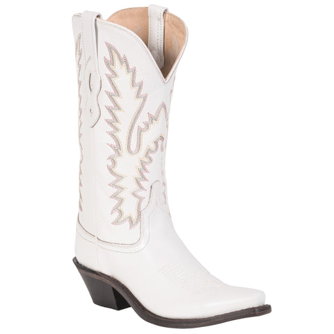 Old West White Womens All Leather 12in Shaft Snip Toe Cowboy Western Boots