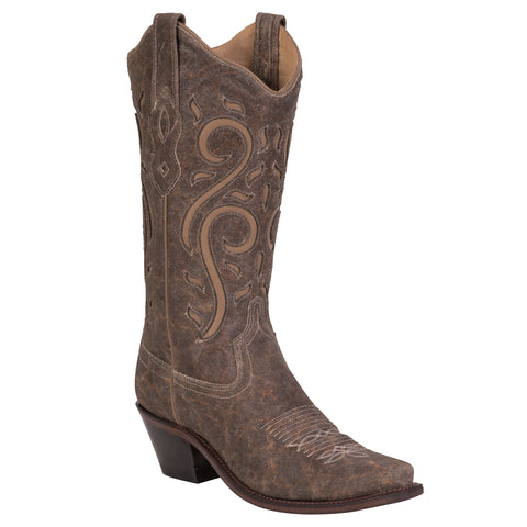 Old West Brown Womens All Leather 12in Inlay Snip Toe Cowboy Western Boots