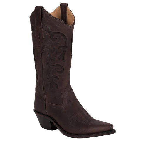 Old West Brown Womens Tumbled Leather Stitch 12in Snip Toe Cowboy Boots