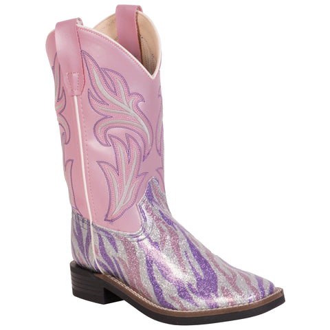 Old West Pink Children Girls Purple Glitter Cowboy Western Boots