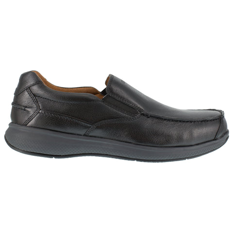 Florsheim Mens Black Leather Loafers Bayside ST Slip-On Boat