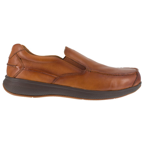 Florsheim Mens Cognac Leather Loafers Bayside ST Slip-On Boat