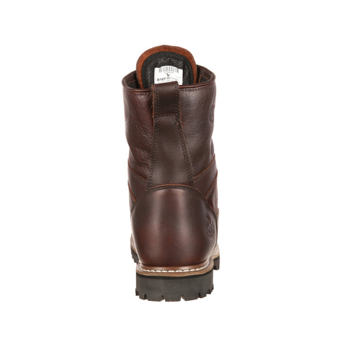 Georgia Mens Chocolate Leather WP Lace-To-Toe Work Boots