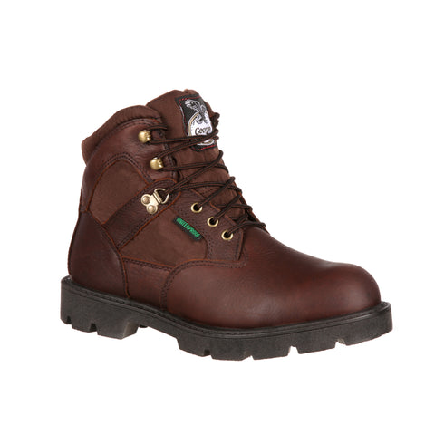 Georgia Homeland Mens Brown Leather Steel Toe Waterproof Work Boots