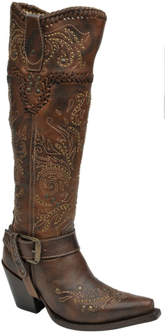 Corral Boots Womens Leather Tall Whip Stitch Brown 16in Cowgirl