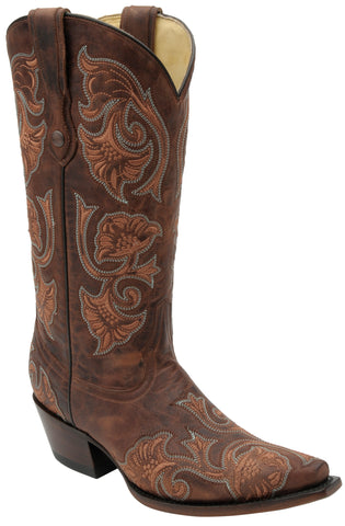 Corral Boots Womens Leather Floral Full Stitch Brown Cowgirl