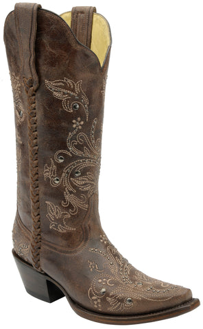 Corral Boots Womens Leather Floral Whip Stitch Chocolate Studs Cowgirl