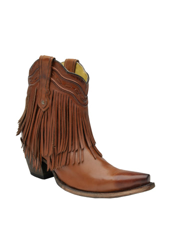 Corral Boots Womens Leather Fringe Ankle Cognac Shortie Cowgirl