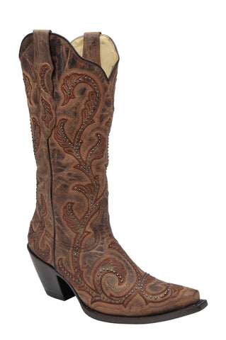 Corral Ladies Studs Brown Cowhide Leather Cowgirl Boots