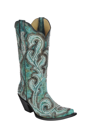 Corral Boots Womens Leather Embroidery & Studs Turquoise Shaded Cowgirl