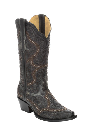 Corral Ladies Studs Black Cowhide Leather Cowgirl Boots