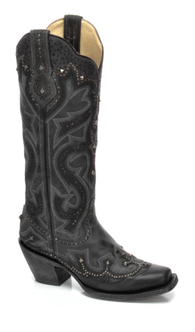 Kd Corral Ladies Studs Black Cowhide Leather Cowgirl Boots