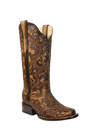 Corral Ladies Studs Brown Goat Leather Cowgirl Boots