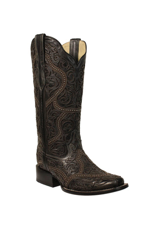 Corral Ladies Studded Black Cowhide Leather Cowgirl Boots