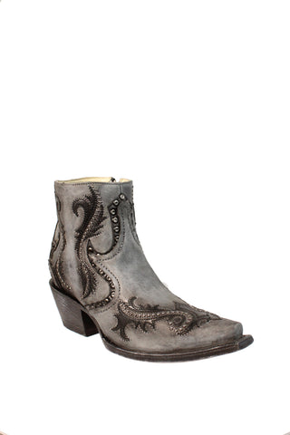 Corral Ladies Studs Grey Cowhide Leather Ankle Ankle Boots