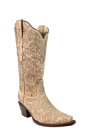 Corral Ladies Stitch Bone Cowhide Leather Cowgirl Boots