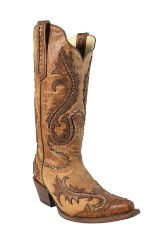 Corral Urban Ladies Studs Tan Cowhide Leather Cowgirl Boots