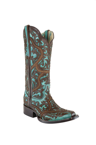 Corral Ladies Studs Turquoise/Brown Cowhide Leather Cowgirl Boots