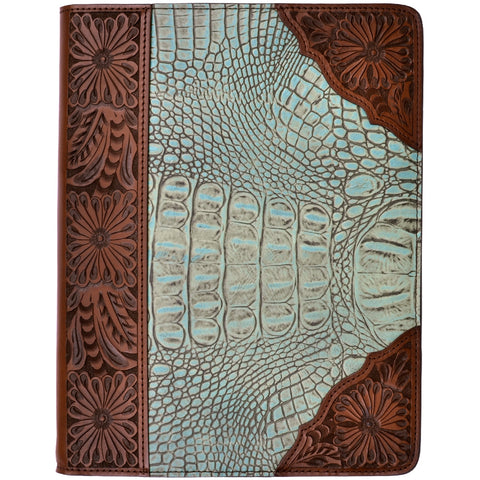3D Turquoise Leather iPad Cover Floral Gator Inlay