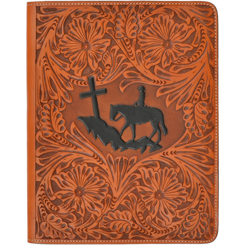 3D Natural Leather iPad Cover Floral Tooled Praying Cowboy