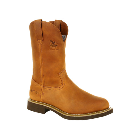 Georgia Mens Prairie Chestnut Leather Carbo-Tec Wellington Work Boots