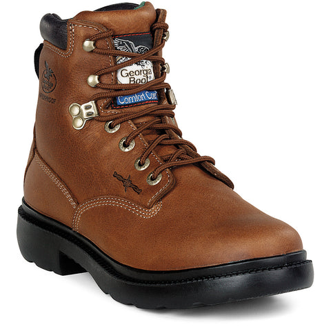 Georgia Farm 'n Ranch Mens Briar Brown Leather Waterproof Work Boots