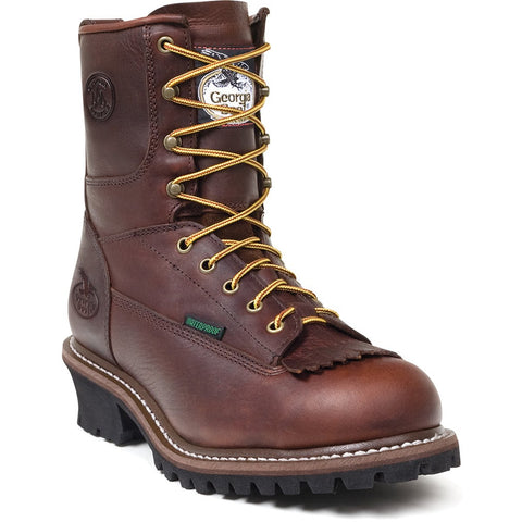 Georgia Mens Chocolate Leather Waterproof Logger Work Boots