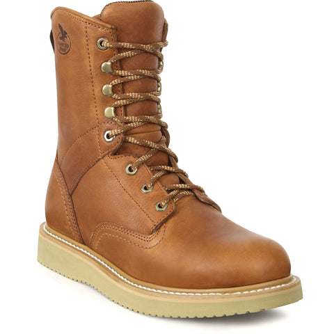Georgia Mens Barracuda Gold Leather Steel Toe Wedge Work Boots