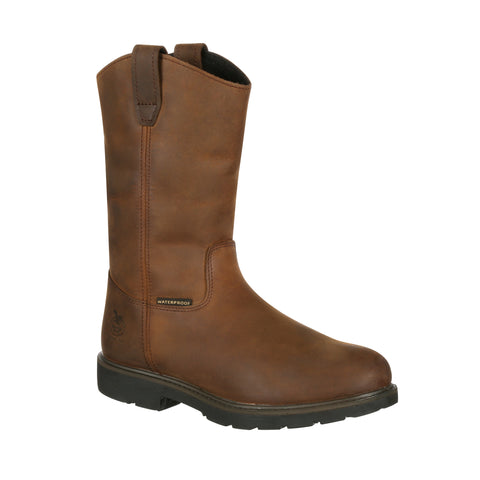 Georgia Mens Brown Leather Waterproof Welly Work Boots