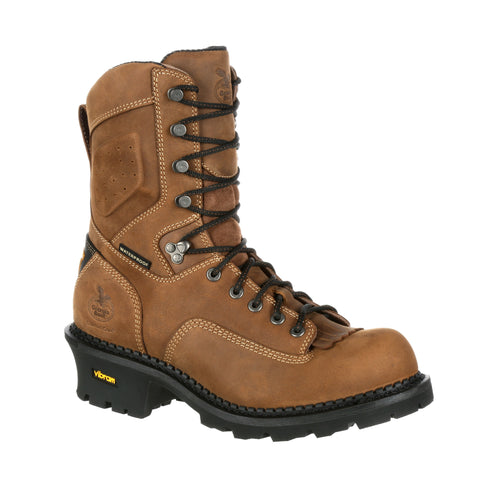 Georgia Mens Brown Leather Core WP CT Logger Boots